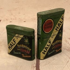 1930's Half & Half Lucky Strike Tobacco Tins Cans